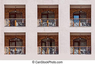 nouveau, bâtiment, balcons, fenetres, jour, time.