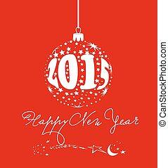 nouveau, balle, étoile, heureux, année