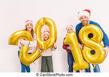 nouveau, ballons, famille, tenue, année