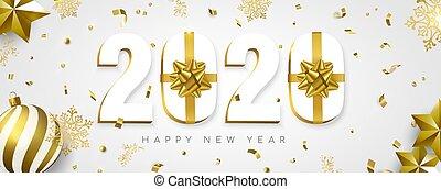 nouveau, bannière, cadeau, 2020, vacances, or, année, décoration