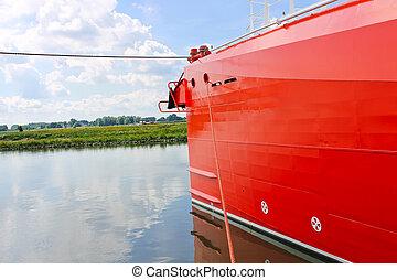 nouveau, bateau, port, arc rouge