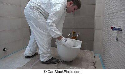 nouveau, bathroom., jeune, artisan, toilette, apporter, bol, industrie, construction