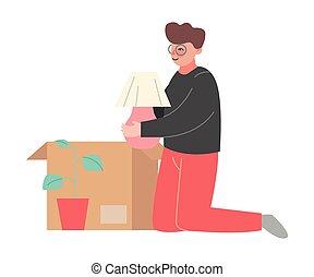nouveau, boîte, jeune, déballage, carton, homme, replacer, ...