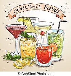 nouveau, boissons, coctail, époque, menu