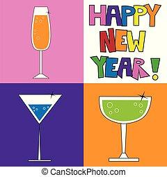 nouveau, boissons, heureux, années