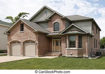nouveau, brique, construction, maison