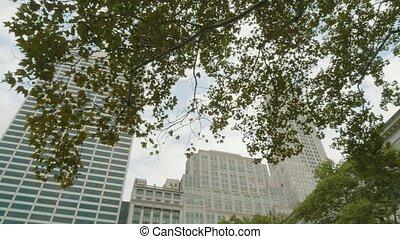 nouveau, bryant, york, entourer, bâtiments, visible, parc, ...