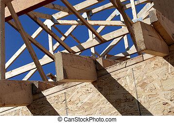 nouveau, cadre, bois, maison