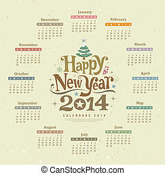 nouveau, calendrier, heureux, 2014, année