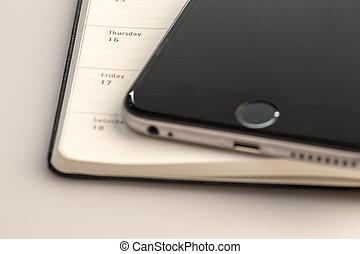 nouveau, calendrier, smartphone