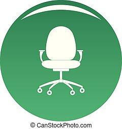 nouveau, chaise, vecteur, vert, icône