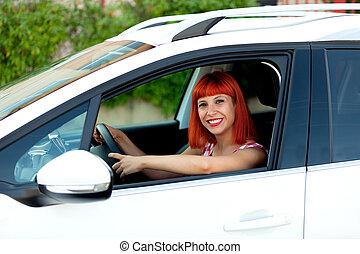 nouveau, chevelure, voiture, elle, femme, rouges