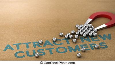 nouveau, clients, concept, attirer