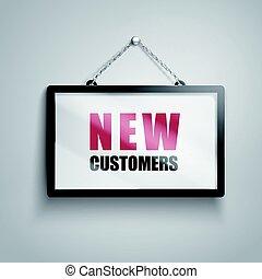 nouveau, clients, texte, signe