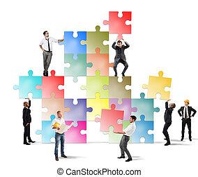 nouveau, compagnie, équipe, businesspeople, construire