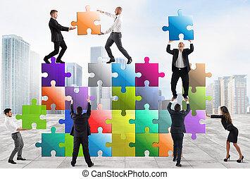 nouveau, compagnie, businesspeople, équipe, construire