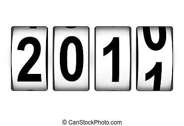 nouveau, compteur, 2011, année