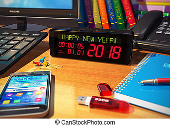 nouveau, concept, vacances, 2018, année