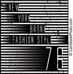 nouveau, conception, york, typographie