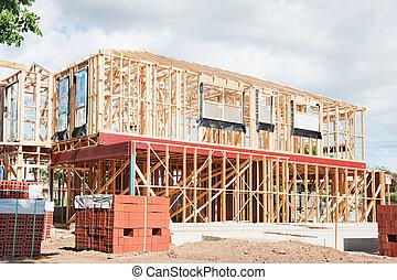 nouveau, construction, encadrement, maison