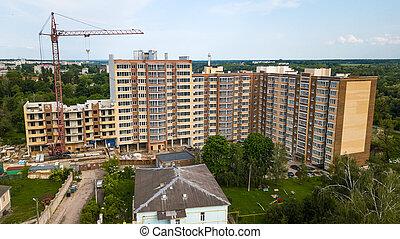 nouveau, construction, vue aérienne, bâtiment, multi-storey