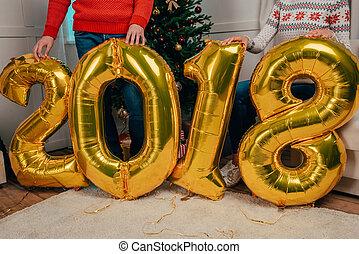 nouveau, couple, ballons, année