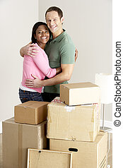 nouveau, couple, maison mobile