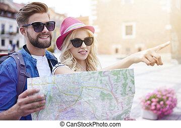 nouveau, couple, visiter, ville, touristique