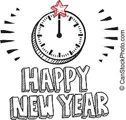 nouveau, croquis, horloge, heureux, année