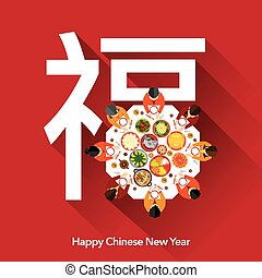 nouveau, dîner, année, chinois, réunion