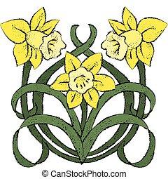 Nouveau Daffodils - Vector art in Illustrator 8. Yellow...
