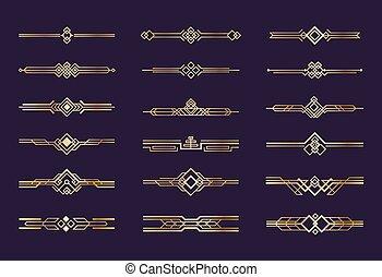 nouveau, deco, kunst, goud, ouderwetse , 1920s, ornament., vector, versiering, header, grafisch, retro, dividers, communie, randjes, geometrisch