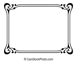 nouveau, decoratief, decoratieve kunst, frame