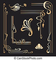 nouveau, decoratief, set, kunst, elements., vector