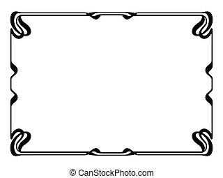 nouveau, decoratieve kunst, decoratief, frame, black