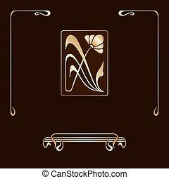 nouveau, decorativo, jogo, arte, elements., vetorial
