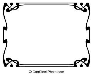 nouveau, dekoratív rajzóra, díszítő, keret, fekete