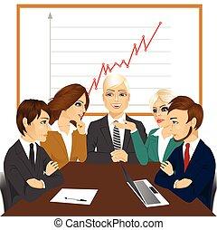 nouveau, discussion affaires, projets, équipe