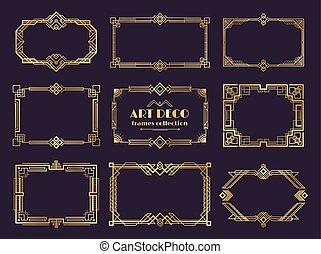 nouveau, doré, deco, art, vendange, 1920s, ornament., cadres, vecteur, luxe, style, géométrique, frontières, résumé, éléments, set.