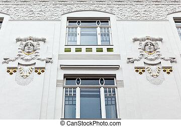 nouveau, edificio, arte, renovado, beautifully