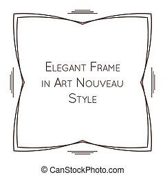 nouveau, elegant, frame, vector, kunst