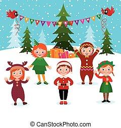 nouveau, enfants, noël, célébrer, année