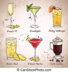 nouveau, ensemble, époque, cocktail, boissons
