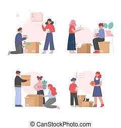 nouveau, ensemble, déballage, carton, replacer, boîtes, ...