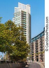 nouveau, ensoleillé, day., été, moderne, beyrouth, central, lebanon., partie, résidentiel, bâtiments