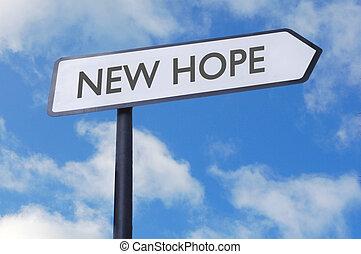 nouveau, espoir, signe