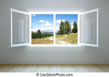 nouveau, fenêtre, ouvert, salle, vide