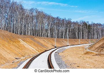 nouveau, ferroviaire, ligne.