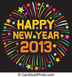 nouveau, feud'artifice, heureux, 2013, année