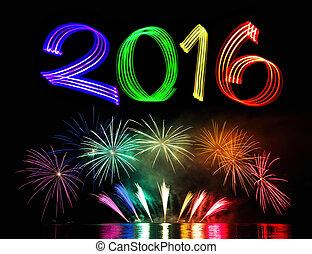 nouveau, feux artifice, 2016, veille, année